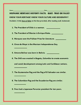 HISPANIC HERITAGE HISTORY/FACTS: QUIZ