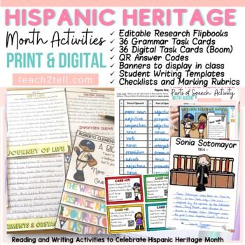HISPANIC HERITAGE MONTH BUNDLE{BIOGRAPHY, FACT CARDS, QR C