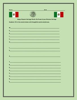 HISPANIC HERITAGE MONTH: MEXICAN ACROSTIC
