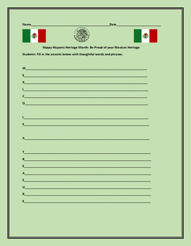 HISPANIC HERITAGE MONTH: MEXICAN ACROSTIC