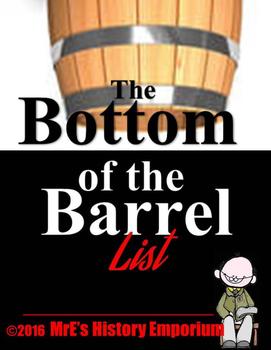 HISTORY  Bottom of the Barrel list