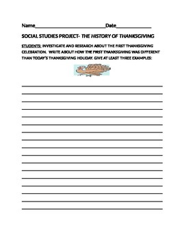 HISTORY OF THE FIRST THANKSGIVING WRITING ACTIVITY