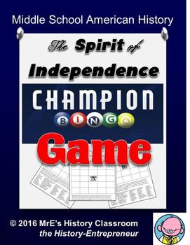 HISTORY  The Spirit of Indepedence BINGO game