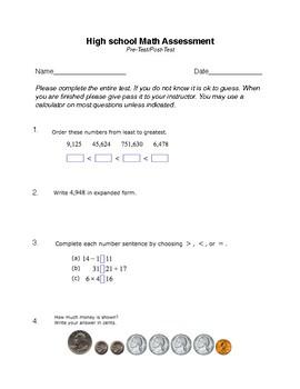 HIgh School Math Pretest