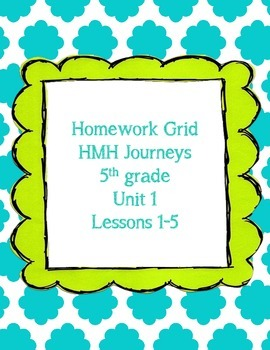 HMH Journeys 5th grade Homework Grid Unit 1
