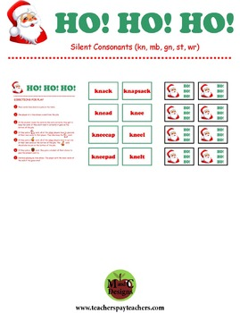 HO! HO! HO! Christmas Phonics Game Activity Silent Consona