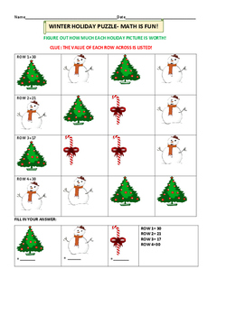 CHRISTMAS/ WINTER HOLIDAY FUN MATH PUZZLE- K-2