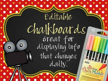 HOLLYWOOD - Classroom Decor: editable chalkboard  POSTERS