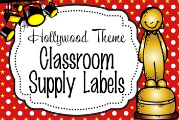 HOLLYWOOD - Classroom Supply Labels, editable