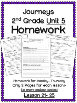 HOMEWORK for Journeys 2nd Grade UNIT 5
