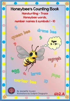 HANDWRITING BOOKLETS:HONEYBEE WORDS & PICTURES & NUMBER 1