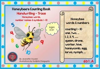 HANDWRITING CARDS:HONEYBEE WORDS & PICTURES & NUMBERS 1 -