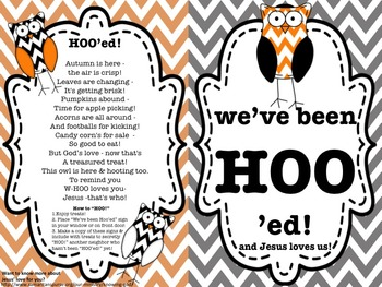 "HOO'ing - Christian option of the Boo or ""Boo'ing"" Game - Chevron"