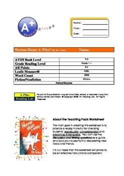 HORTON HEARS A WHO? NOVEL STUDY ASSESSMENT PACK