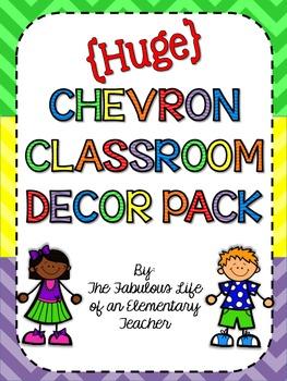HUGE Chevron Classroom Decor Set {Bright Colors}