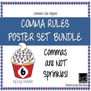 HUGE Comma Rules Classroom Poster Set Bundle: Grade 6