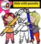HUGE FREEBIE! Kids with pencils  - Color and B&W-
