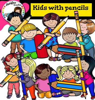 HUGE FREEBIE! Kids with pencils - Color and B&W- by Artifex