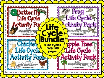HUGE Life Cycles Activity Bundle for Butterfly, Frog, Chic