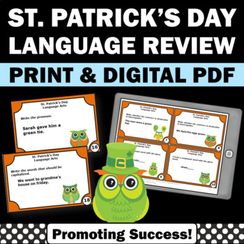 St. Patrick's day literacy games grammar activities for kids