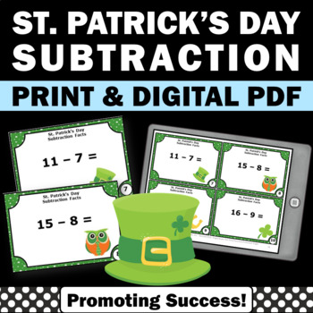 St. Patrick's Day Math Centers Subtraction Facts Task Card