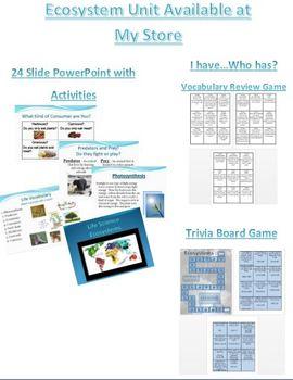 Habitat Food Chain Food Web Vocabulary Sheet - Notecards