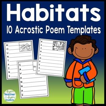 Habitats Writing Activity - Acrostic Poem templates for 10