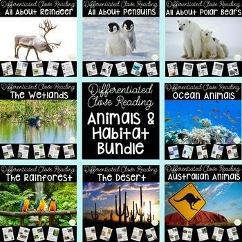 Habitats Bundle- HUGE Nonfiction Close Read Bundle- Differ