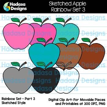 Hadasa Designs: Sketched Apple Clip Art FREEBIE - Rainbow Set 3