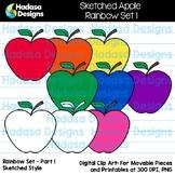 Hadasa Designs: Sketched Apple Rainbow Clip Art Set 1 FREEBIE