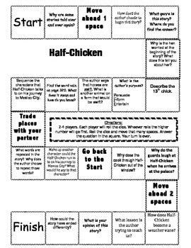 """""""Half-Chicken"""" 2nd grade Journeys comprehension game board"""