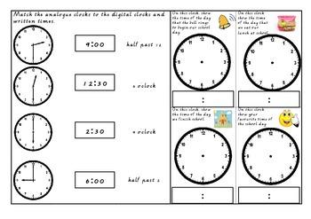 Half Past, O'Clock, Quarter To and Quarter Past Time Assessment