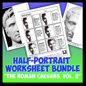"Half-Portrait Worksheet Bundle ""Roman Caesars Vol. 2"""