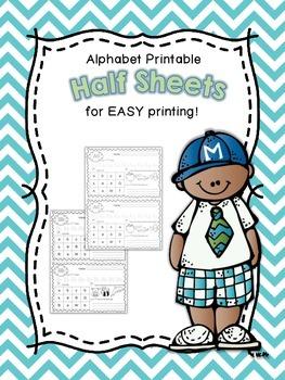 Half Sheet Printables~Alphabet