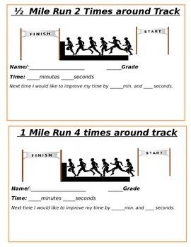 Half mile or mile run task card