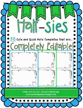 Half-sies { 50 Cute, Easy, Totally Editable Half-Sheet Not