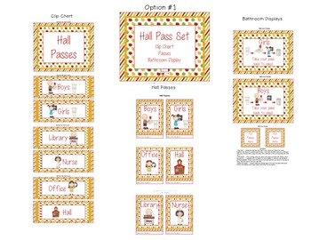 Hall Pass Set - Clip Chart, Passes and Bathroom Display -