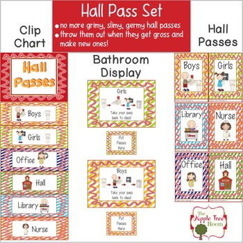 Hall Pass Set {Editable} Clip Chart, Passes and Bathroom Display