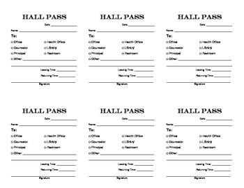 Hall Pass and Student Release Request