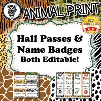 Hall Passes & Name Badges  - Animal Print - ZisforZebra -