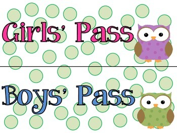 Hall Passes (Owl Themed)