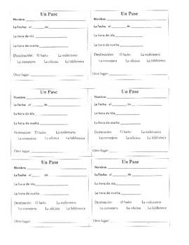 Hall Passes written in Spanish