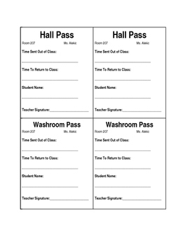 Hall and Washroom Pass