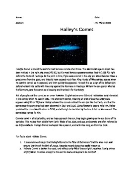 Halley's Comet Reading with Questions