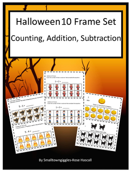 Halloween 10 Frames Counting Addition and Subtraction Centers