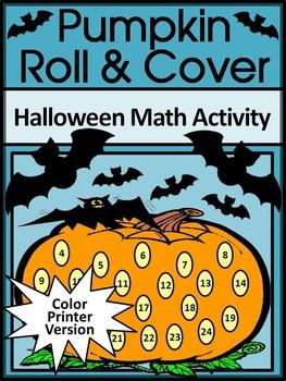 Halloween Math Activities: Pumpkin Roll & Cover Math Activ