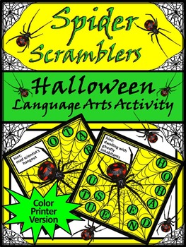 Halloween Games: Spider Scramblers Halloween Language Arts