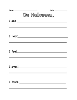 Halloween 5 Senses Writing