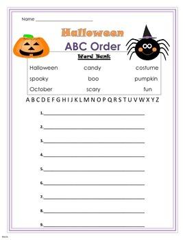 Halloween ABC Order Worksheet