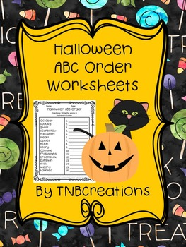 Halloween ABC Order Worksheets
